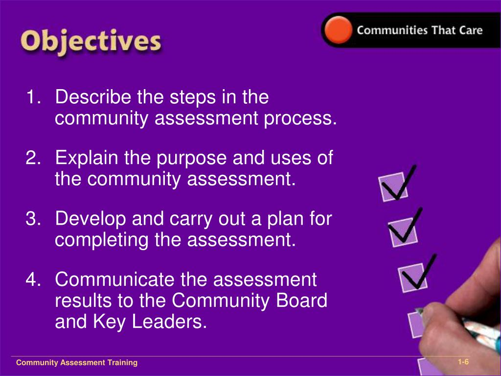 Describe the steps in the community assessment process.