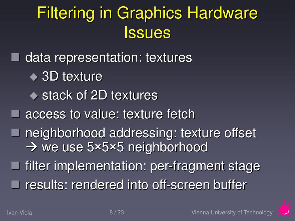 Filtering in Graphics Hardware