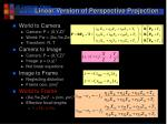 linear version of perspective projection