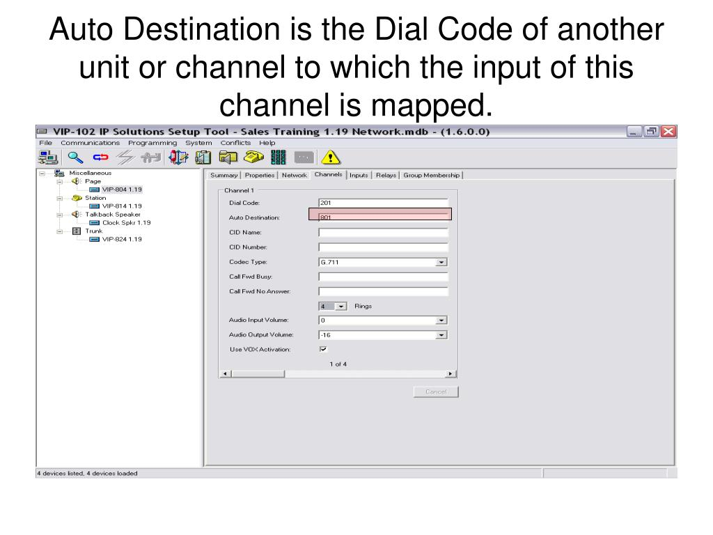 Auto Destination is the Dial Code of another unit or channel to which the input of this channel is mapped.