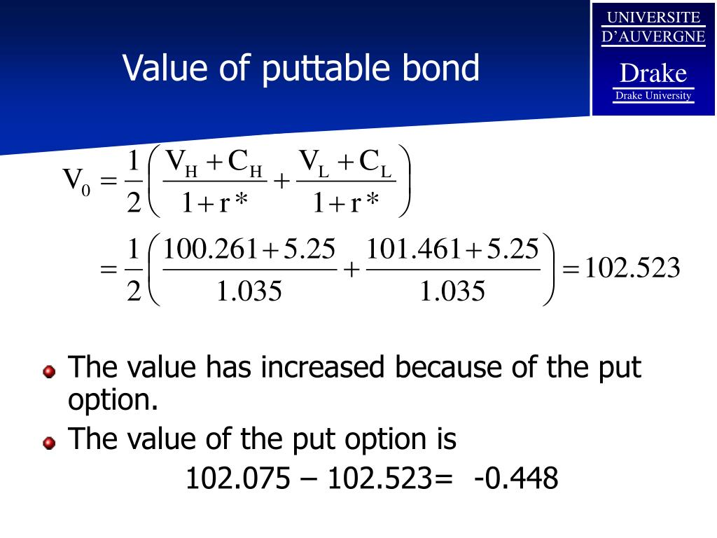 Value of puttable bond