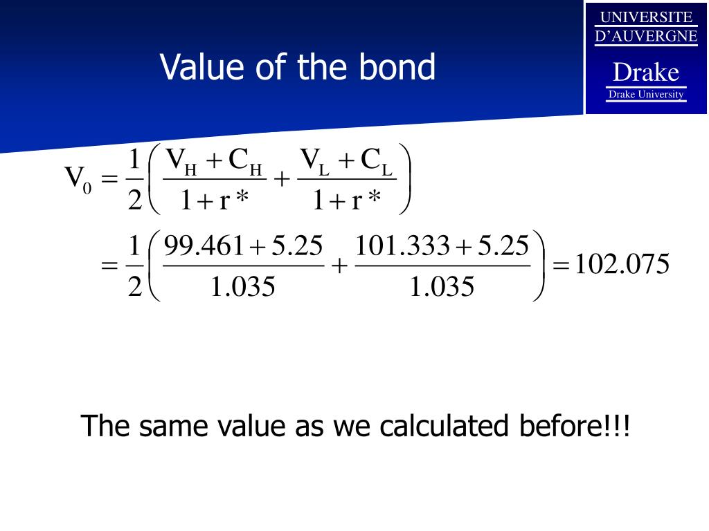 Value of the bond
