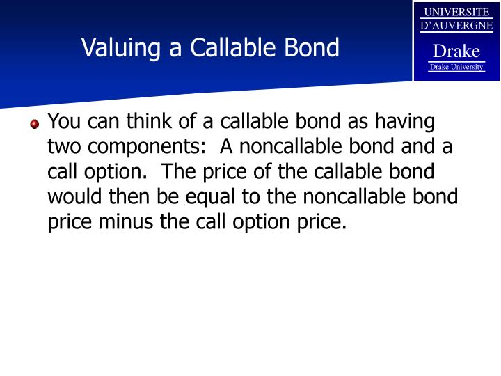 Valuing a callable bond