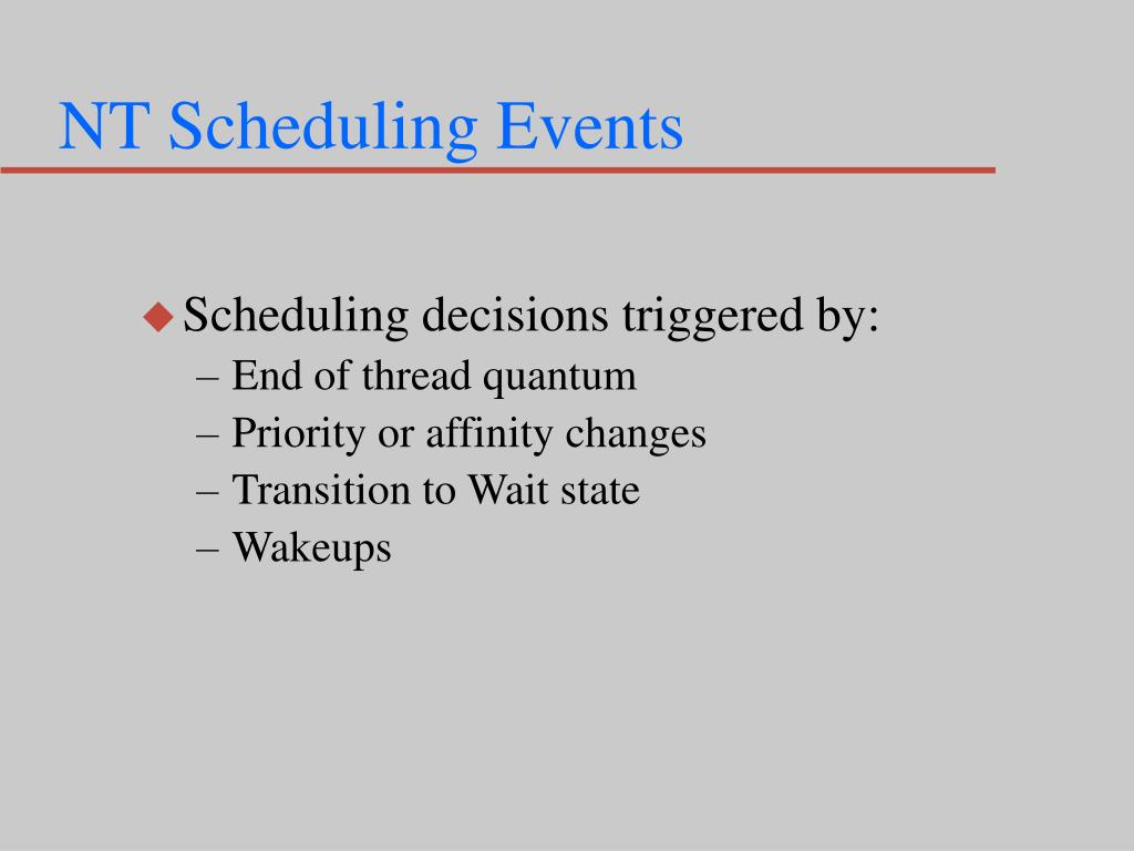 NT Scheduling Events