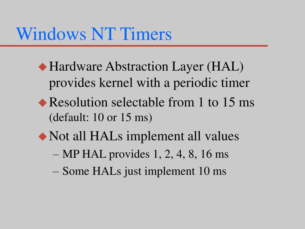 Windows NT Timers