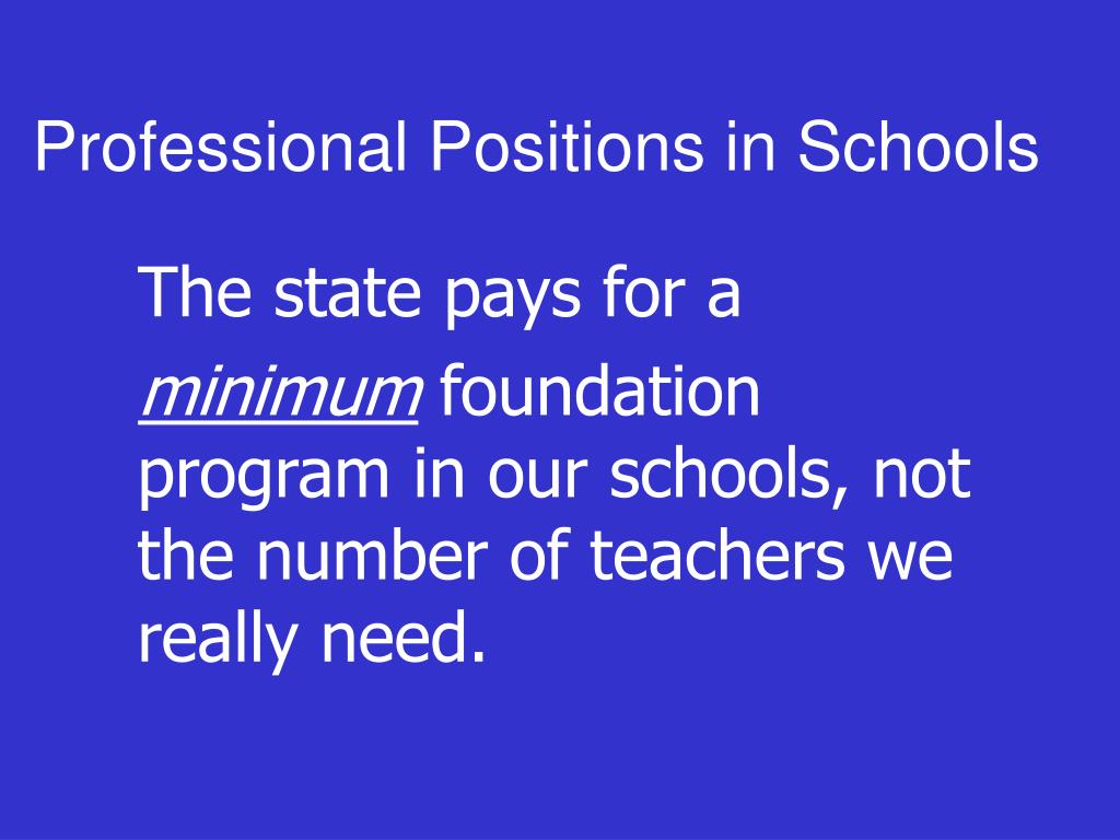 Professional Positions in Schools
