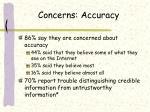 concerns accuracy