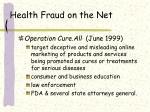 health fraud on the net