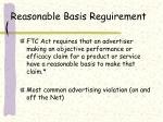 reasonable basis reguirement