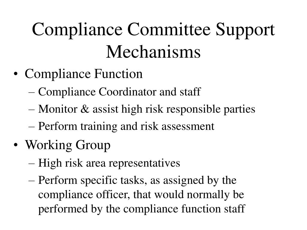 Compliance Committee Support Mechanisms