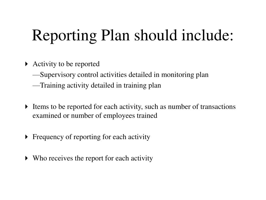 Reporting Plan should include: