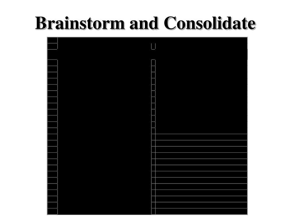 Brainstorm and Consolidate