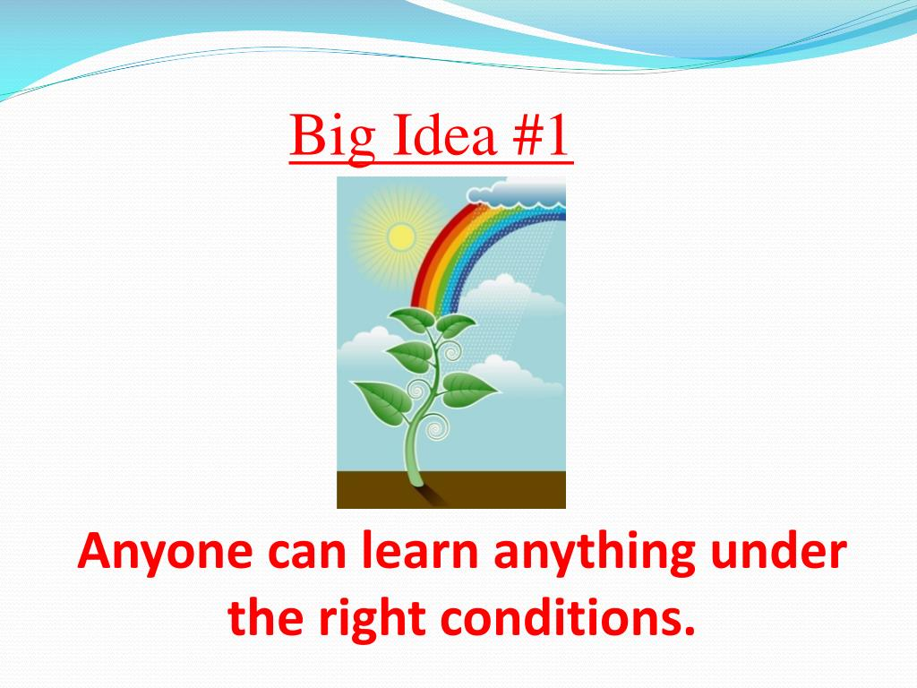 Anyone can learn anything under   the right conditions.