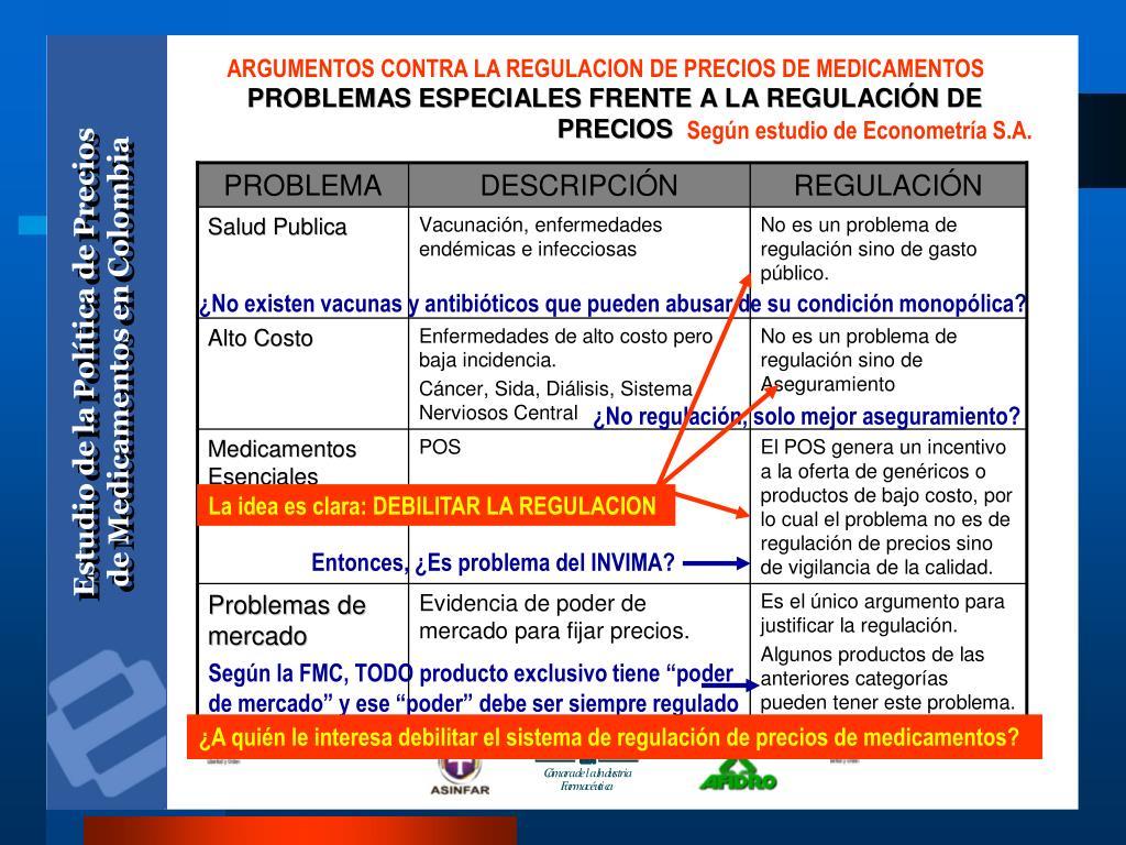 ARGUMENTOS CONTRA LA REGULACION DE PRECIOS DE MEDICAMENTOS