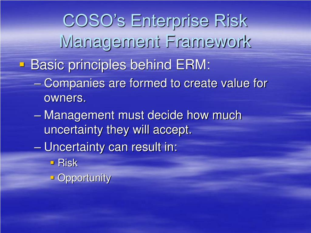 COSO's Enterprise Risk Management Framework