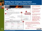 editing your company information m y company page completed information