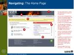 navigating the home page