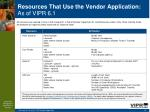 resources that use the vendor application as of vipr 6 152