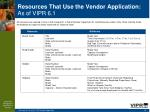 resources that use the vendor application as of vipr 6 156