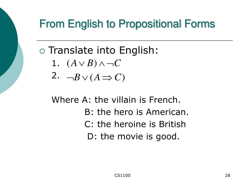 From English to Propositional Forms