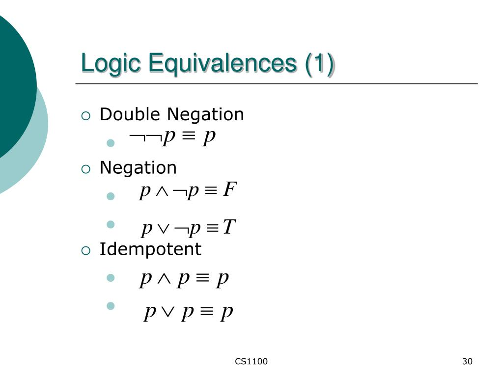 Logic Equivalences (1)
