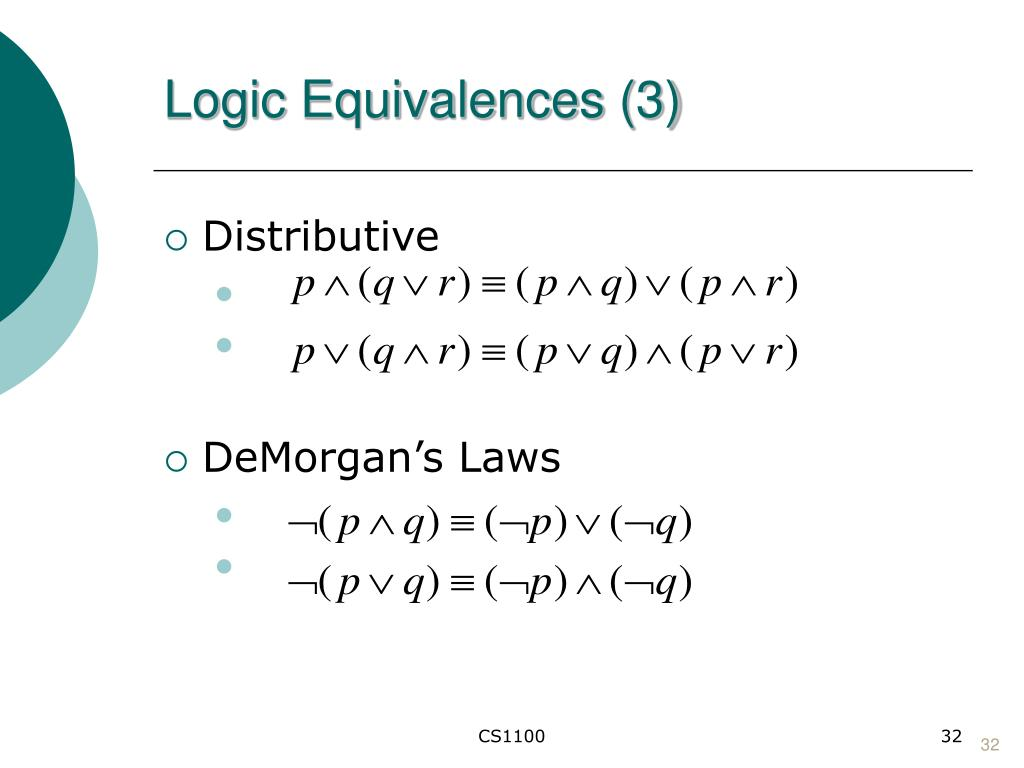 Logic Equivalences (3)