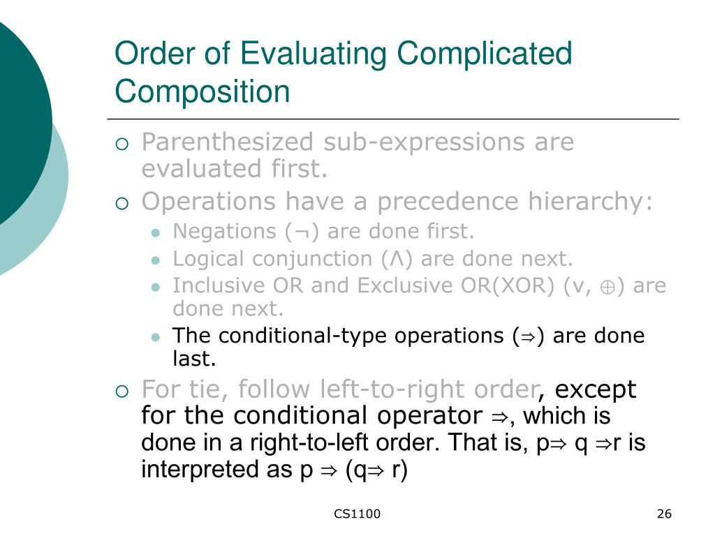 Order of Evaluating Complicated Composition