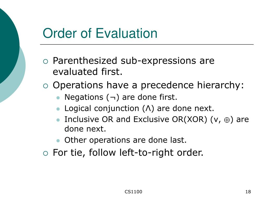 Order of Evaluation