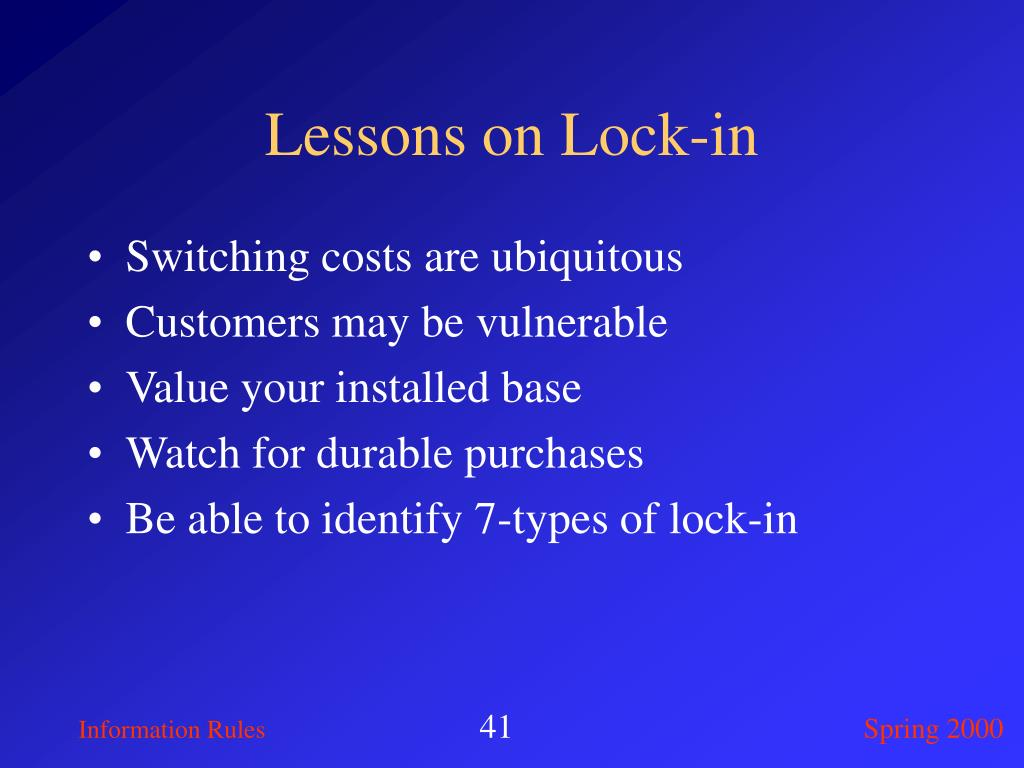 Lessons on Lock-in