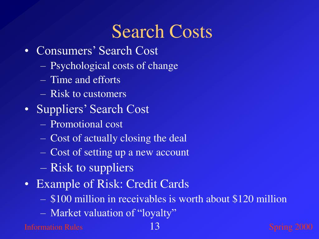 Search Costs