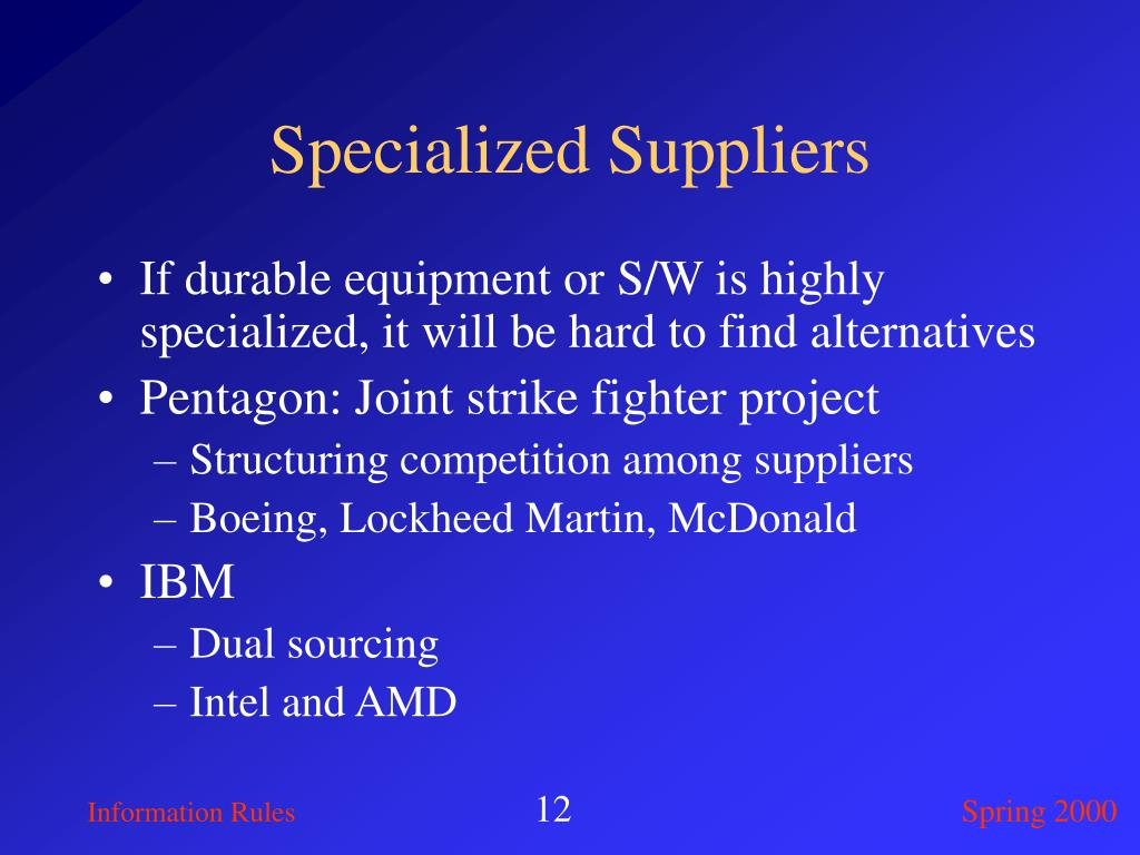 Specialized Suppliers