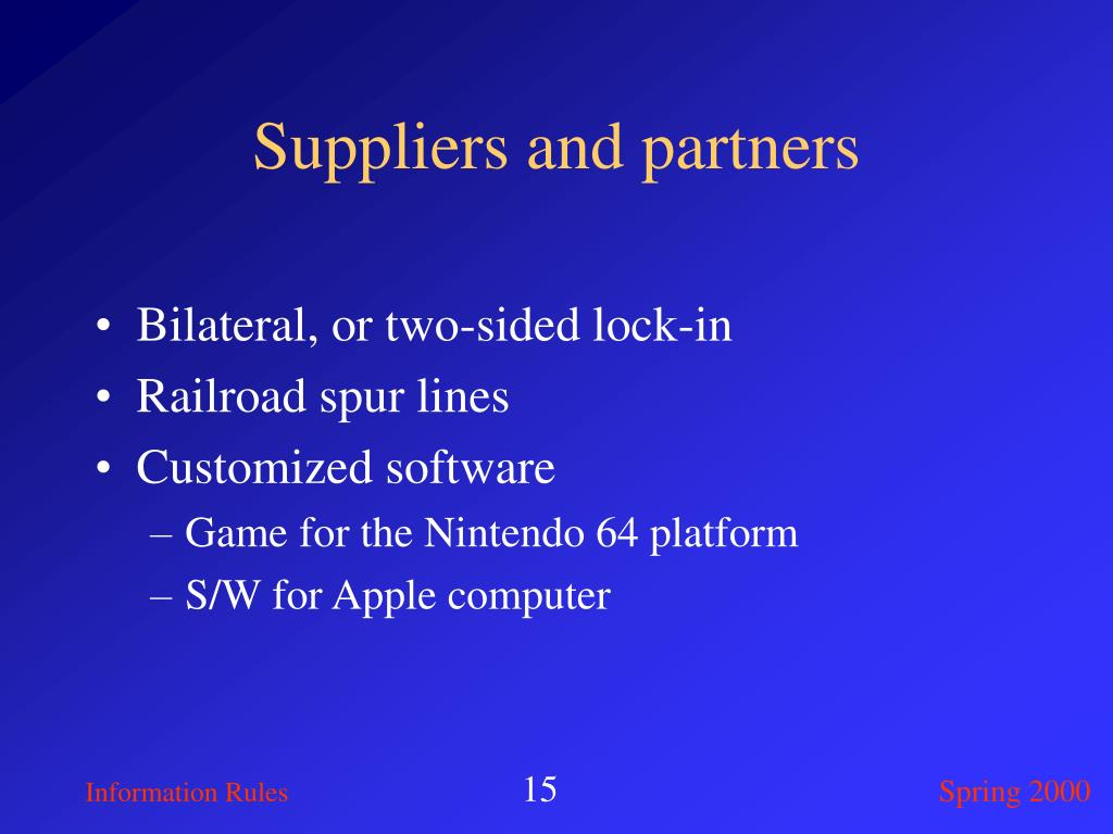 Suppliers and partners