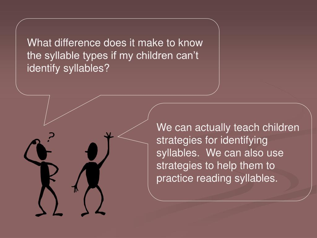 What difference does it make to know the syllable types if my children can't identify syllables?
