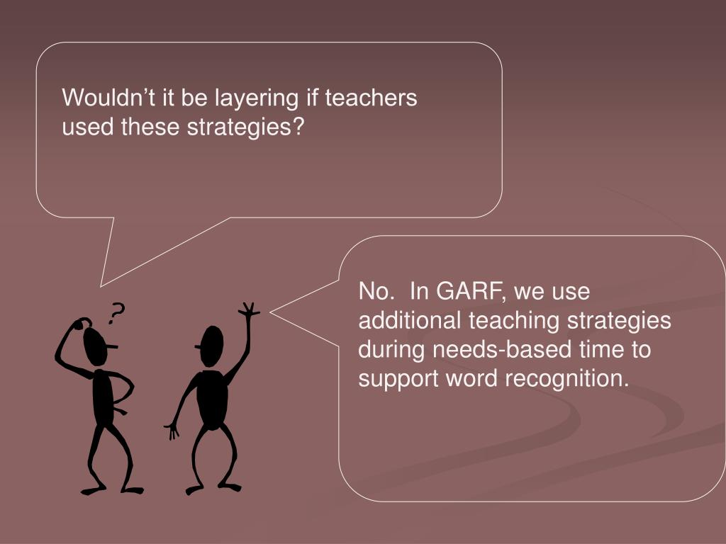 Wouldn't it be layering if teachers used these strategies?