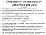 comments on presentations by mohammad and clark