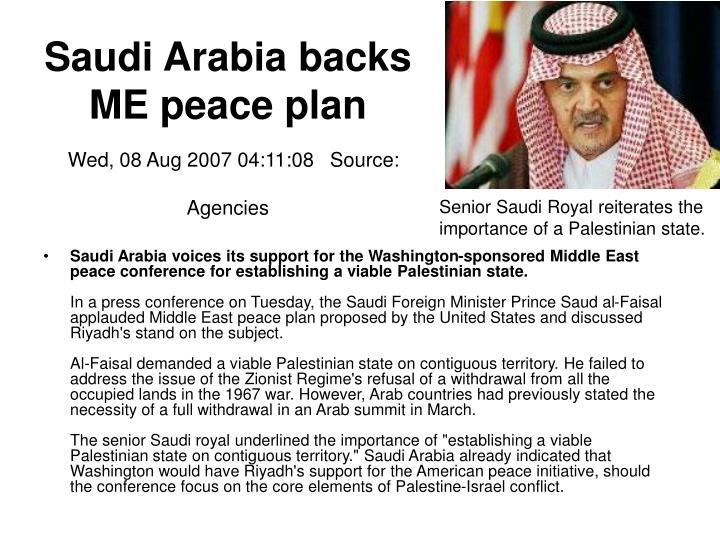 Saudi Arabia backs ME peace plan