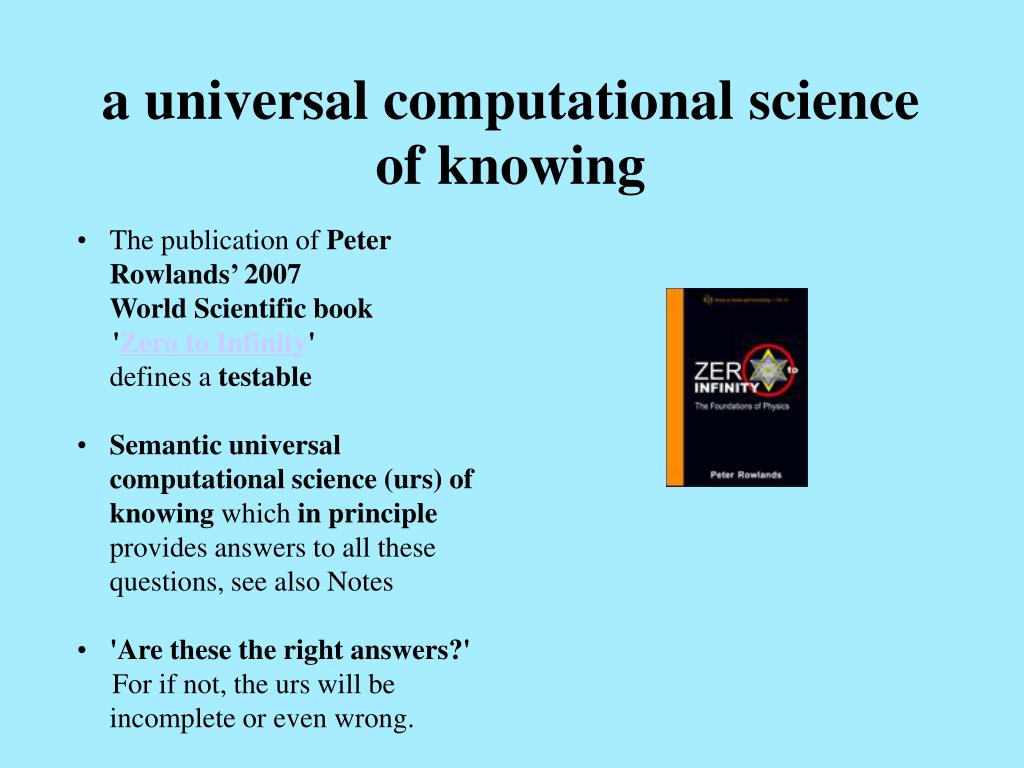 a universal computational science of knowing
