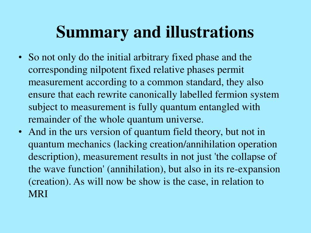 Summary and illustrations