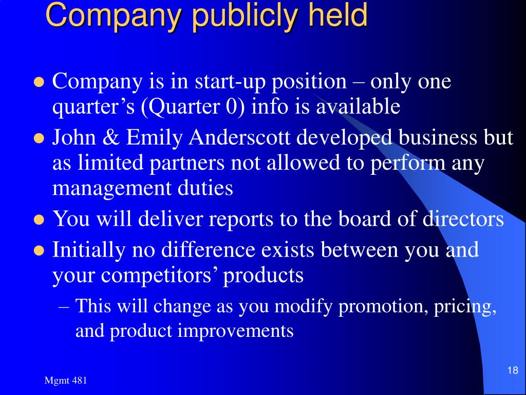 Company publicly held