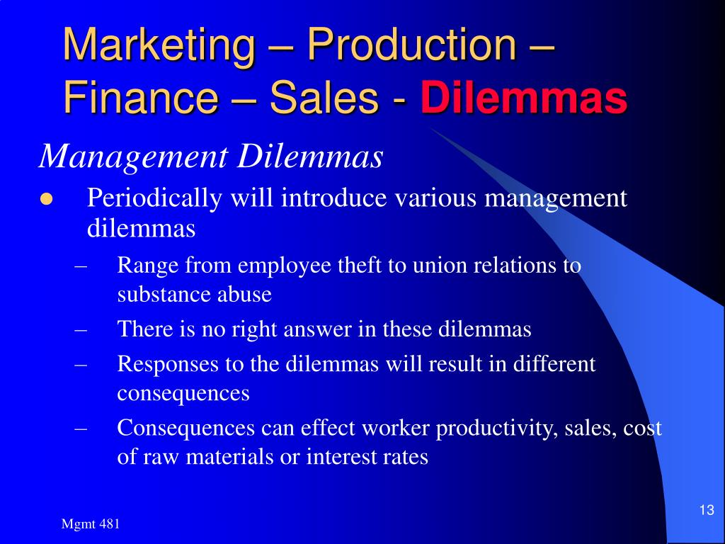 Marketing – Production – Finance – Sales -