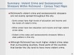 summary violent crime and socioeconomic stressors within richmond census tract maps