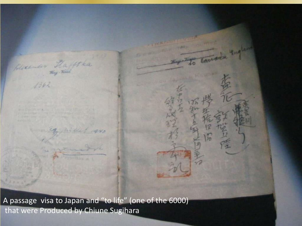 """A passage  visa to Japan and """"to life"""" (one of the 6000)"""