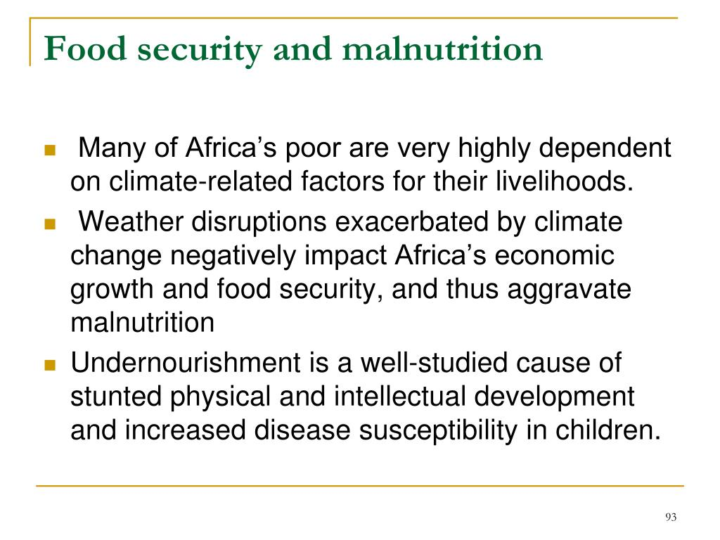 Food security and malnutrition