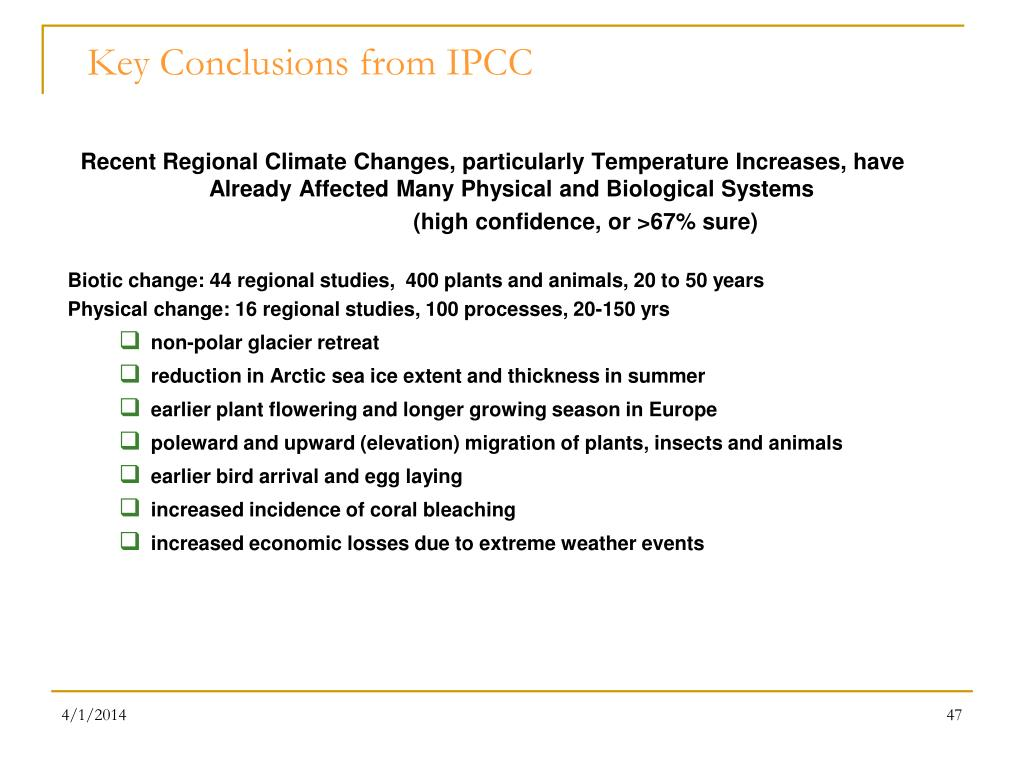 Key Conclusions from IPCC