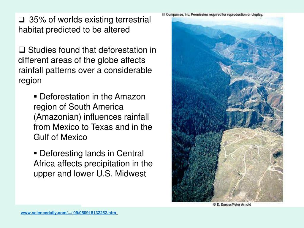 35% of worlds existing terrestrial habitat predicted to be altered