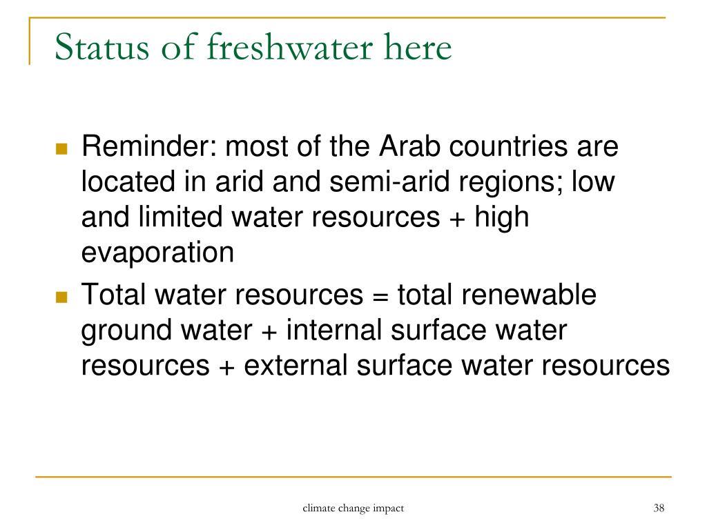 Status of freshwater here