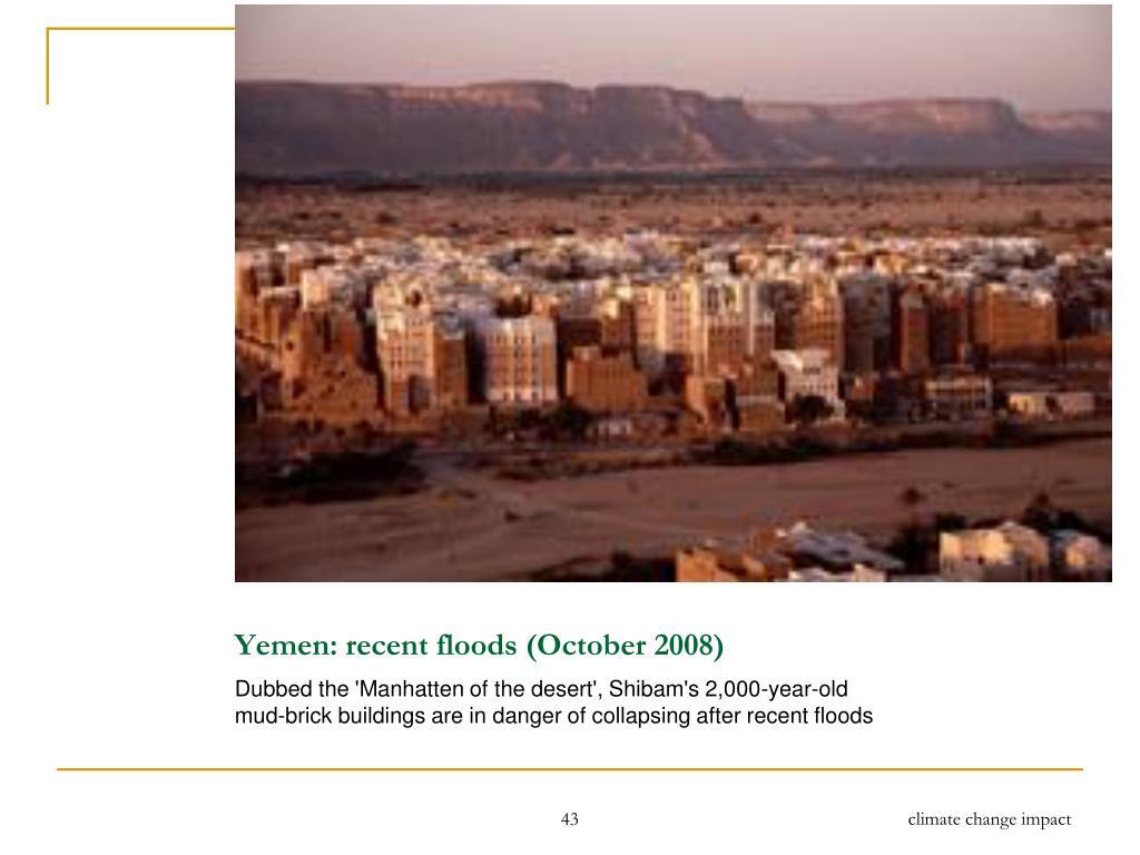 Yemen: recent floods (October 2008)