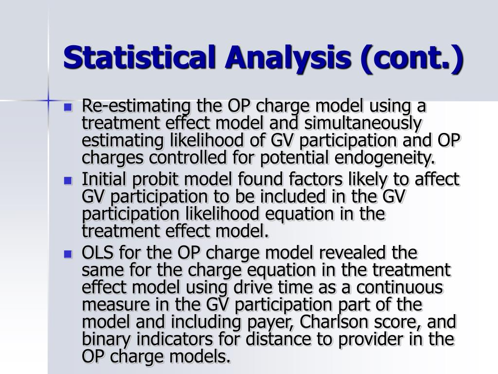 Statistical Analysis (cont.)