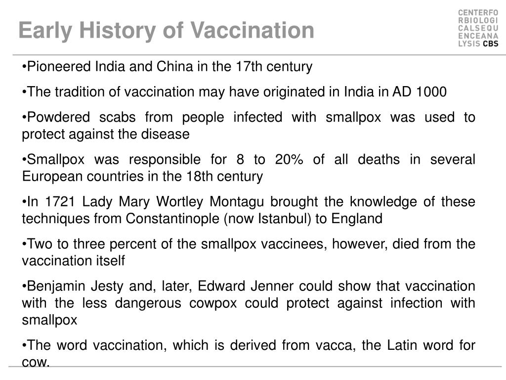 Early History of Vaccination