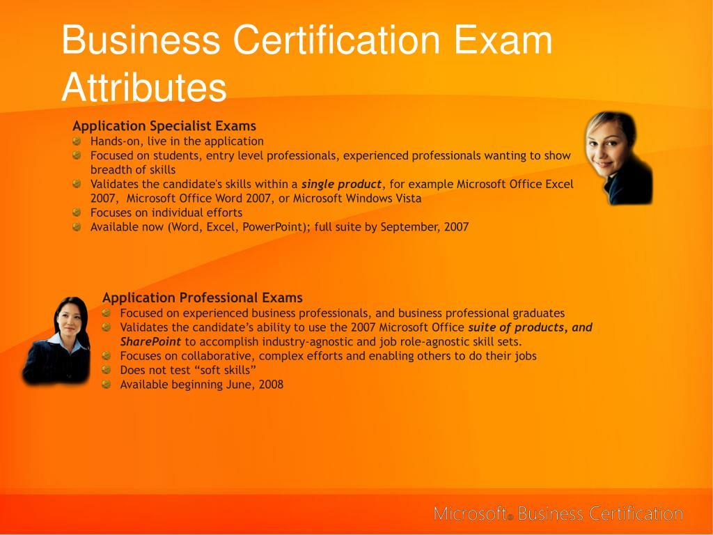 Business Certification Exam Attributes